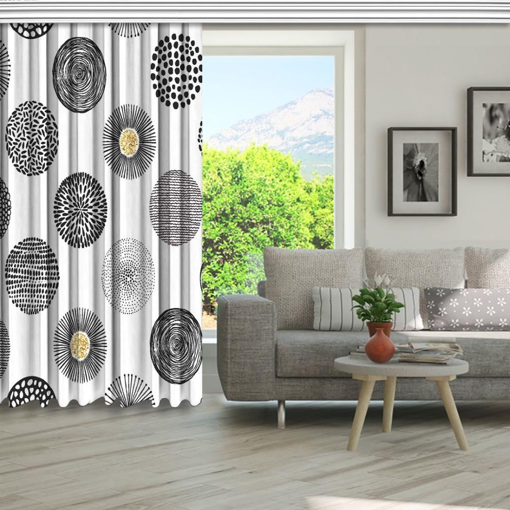 baskılı fon perde yuvarlak görünümlü çizilmiş siyah siluet desenli