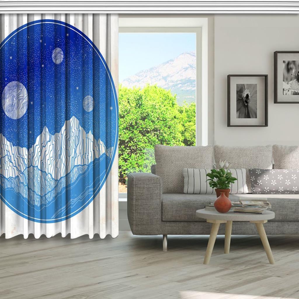 baskılı fon perde yuvarlak mavi renk etkili bej arka plan desenli