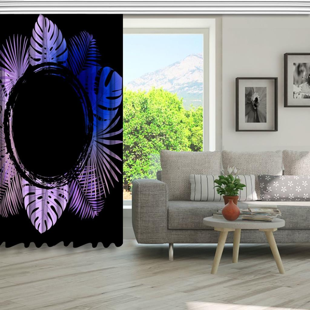 baskılı fon perde yuvarlak mor ve mavi renkli palmiye yaprak desenli