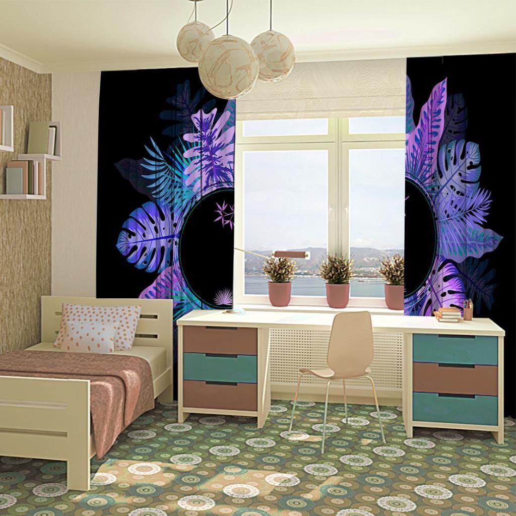 baskılı fon perde yuvarlak mor ve tonları etkili palmiye yaprak desenli