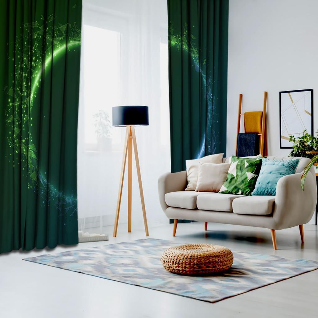 baskılı fon perde yuvarlak yeşil ve mavi etkili üçgen desenli