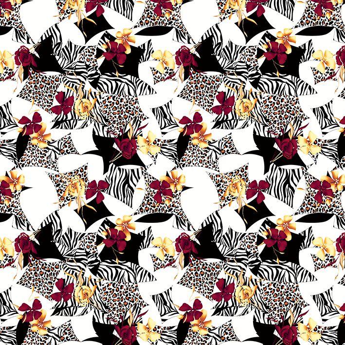 baskılı fon perde zebra ve leopar baskı kırmızı ve sarı çiçek desenli